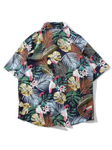 熱帶植物鸚鵡短袖夏威夷海灘襯衫 - 蕨綠 2XL Mobile