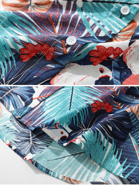 熱帶植物鸚鵡短袖夏威夷海灘襯衫 - 淡藍色 XL Mobile