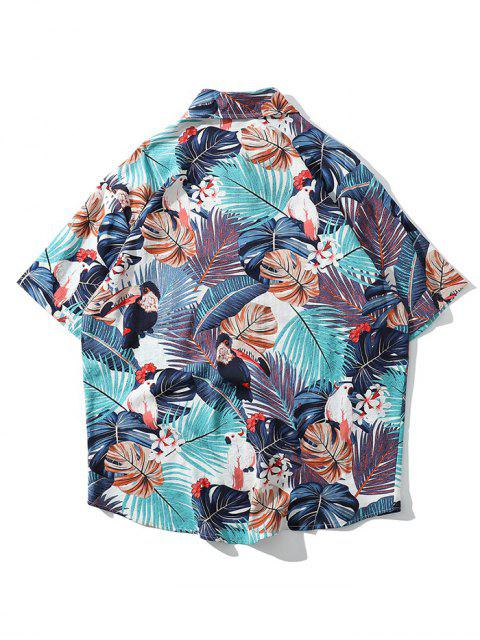 熱帶植物鸚鵡短袖夏威夷海灘襯衫 - 淡藍色 2XL Mobile