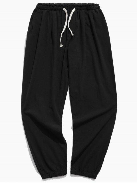 純色運動休閒慢跑褲 - 黑色 XL Mobile