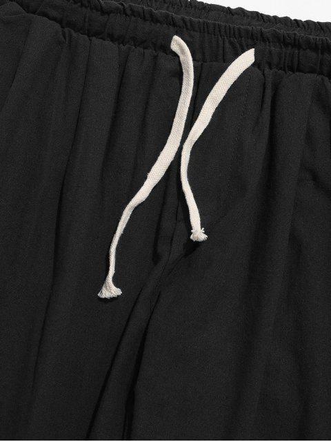 純色運動休閒慢跑褲 - 黑色 L Mobile