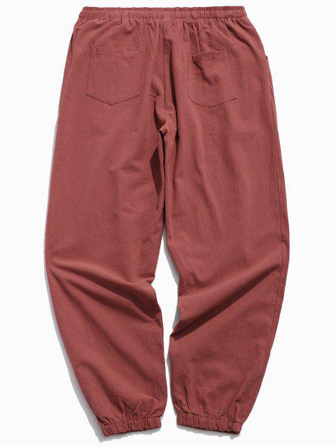 chic Solid Color Sport Casual Jogger Pants - RED XS Mobile