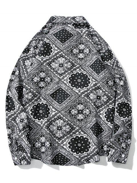 Bandana Floral geométrico del botón de impresión de alta Camisa baja - Gris M Mobile