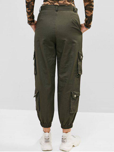 best Boyish Pockets Solid Color Cargo Jogger Pants - ARMY GREEN S Mobile