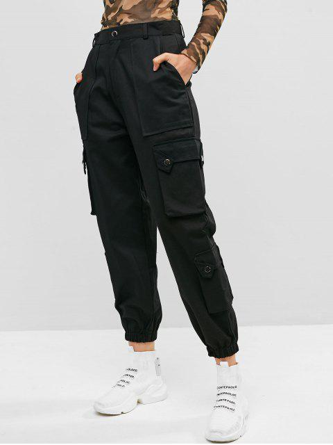 ladies Pockets Solid Color Cargo Jogger Pants - BLACK M Mobile