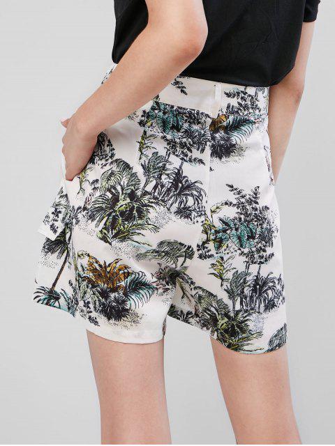 Künstliche Taschen Palme Baumdruck Shorts mit Weitem Bein - Weiß XS Mobile