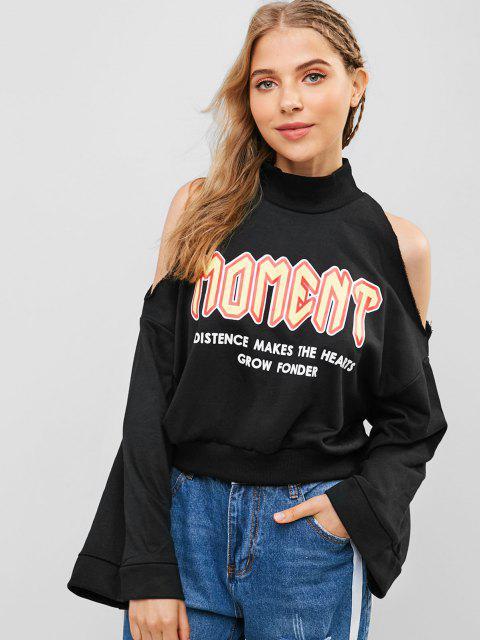 Loose Slogan Graphic Cold Shoulder Sweatshirt - أسود S Mobile