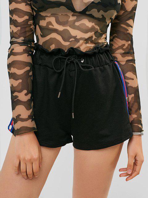 new Snap Button Stripes Panel Paperbag Shorts - BLACK M Mobile