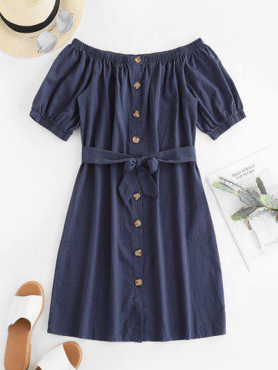 156582f1356b Button Up Off Shoulder Mini Dress - Dark Slate Blue - Dark Slate Blue L ...