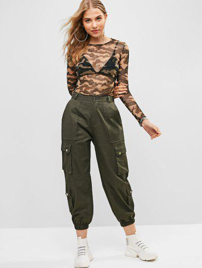 Pockets Solid Color Jogger Pants, Army green