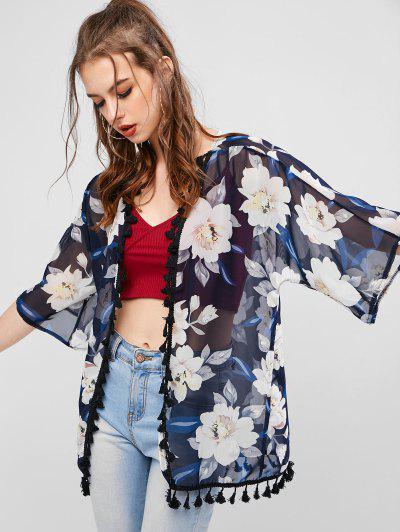 Flower Print Tassel Chiffon See Thru Kimono Cardigan