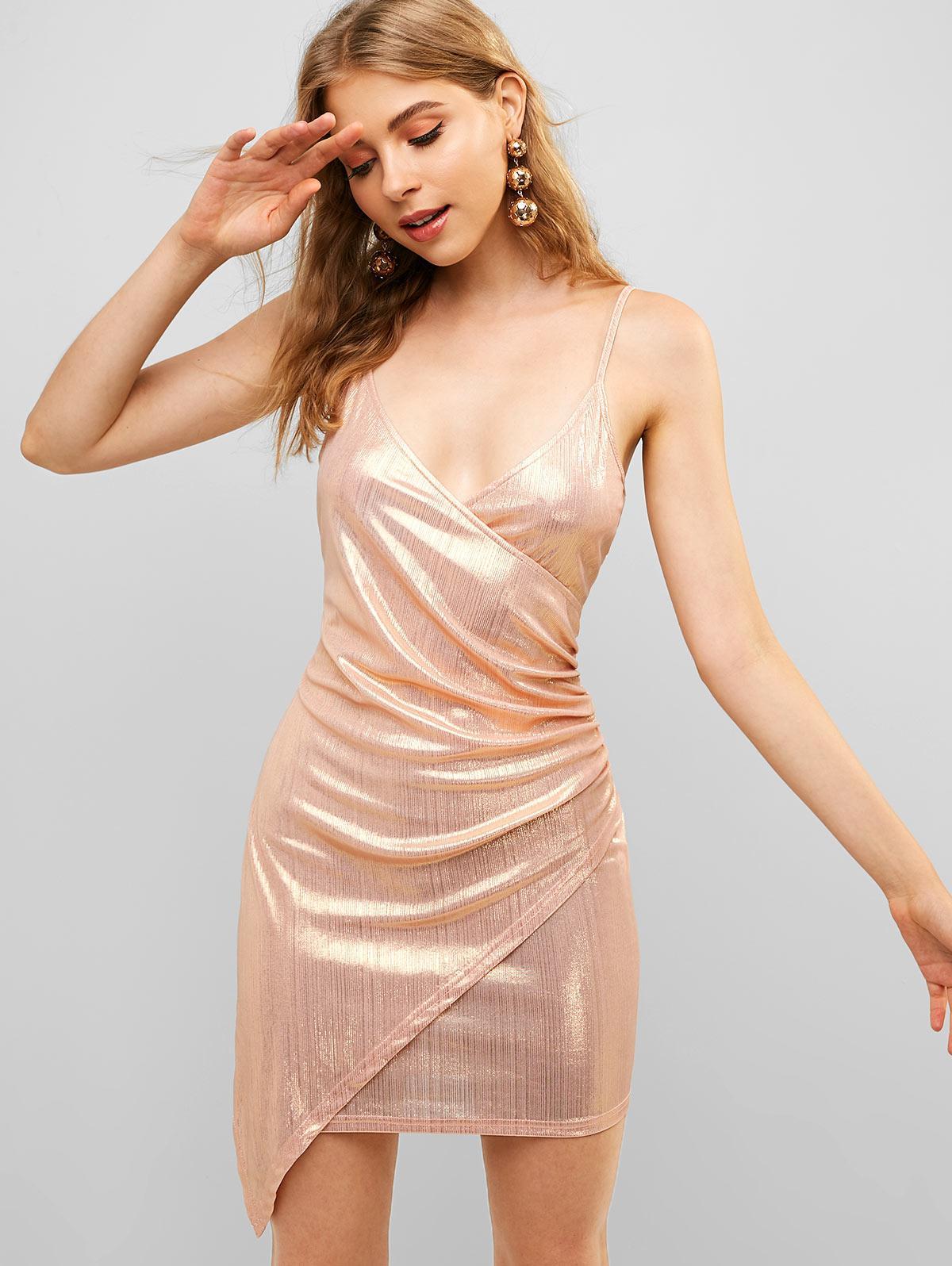 ZAFUL Overlap Shiny Draped Cami Dress thumbnail