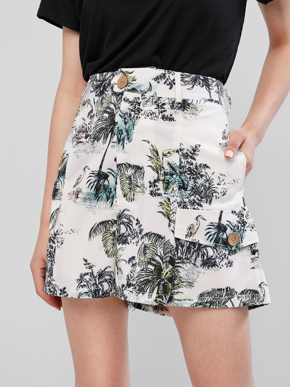 Faux Pockets Palm Tree Print Wide Leg Shorts
