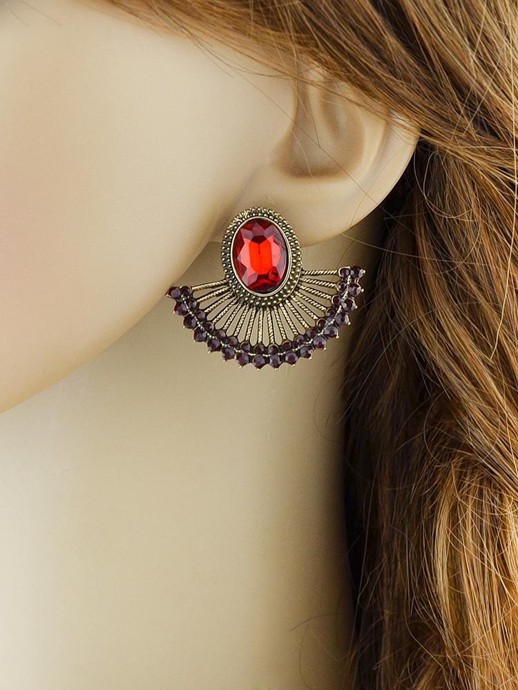 Vintage Rhinestone Fan Stud Earrings фото