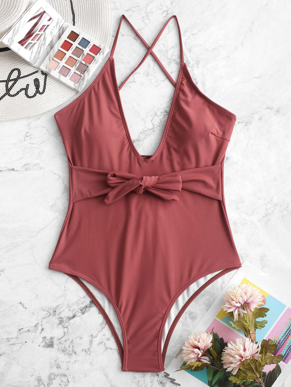 ZAFUL Belted Lace Up One-piece Swimsuit, Cherry red