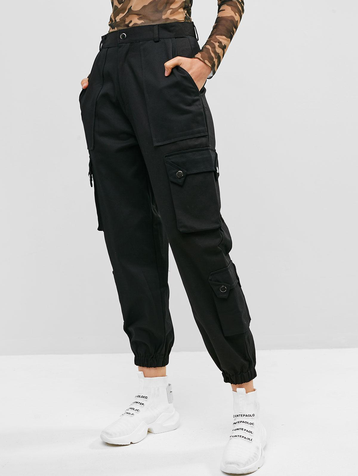 Pockets Solid Color Cargo Jogger Pants фото