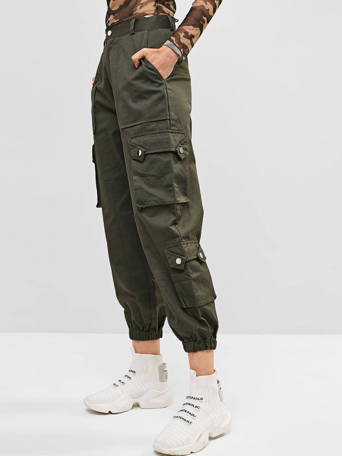 Pockets Solid Color Cargo Jogger Pants