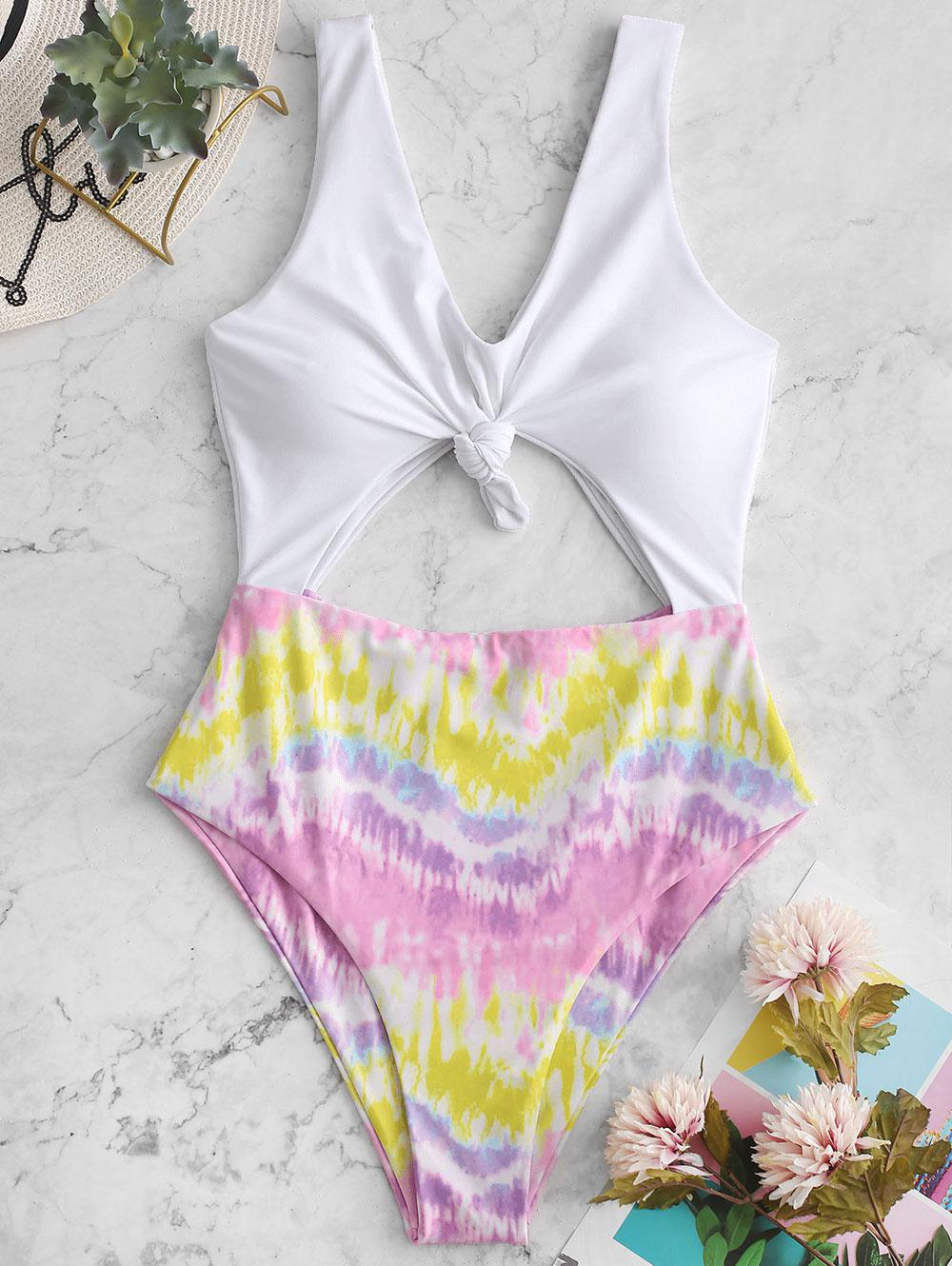 ZAFUL Colorful Tie Dye Knotted Monokini Swimsuit фото