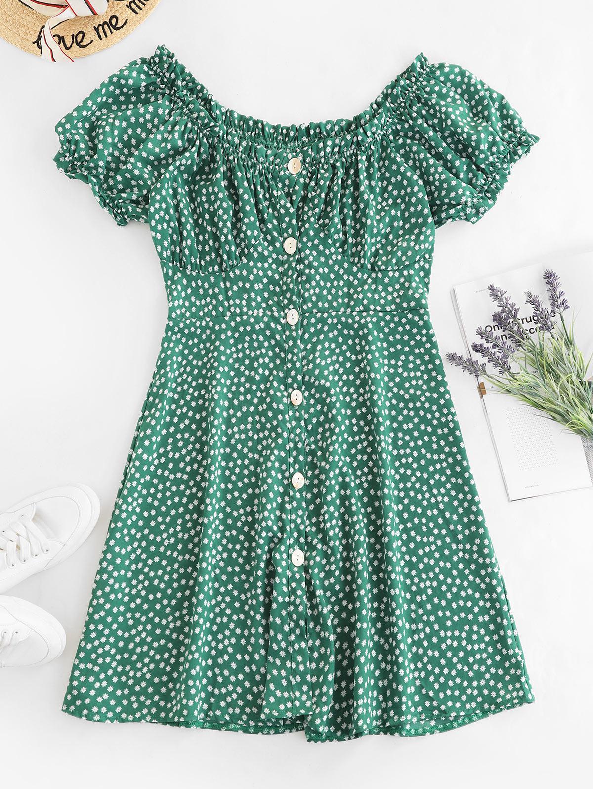 Ditsy Print Button Down Milkmaid Dress, Green