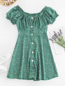 زر طباعة Ditsy أسفل اللباس Milkmaid - أخضر M