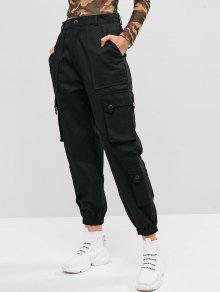 جيوب الصلبة سروال اللون الشحن عداء ببطء - أسود S