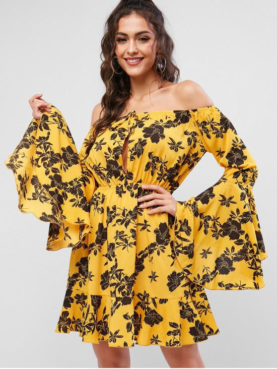 hot ZAFUL Flower Off Shoulder Flare Sleeve Dress - BEE YELLOW XL