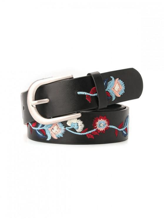 fancy Embroidery Flower Belt - BLACK