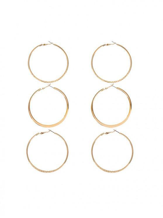 Set di orecchini a cerchio asimmetrico - Oro