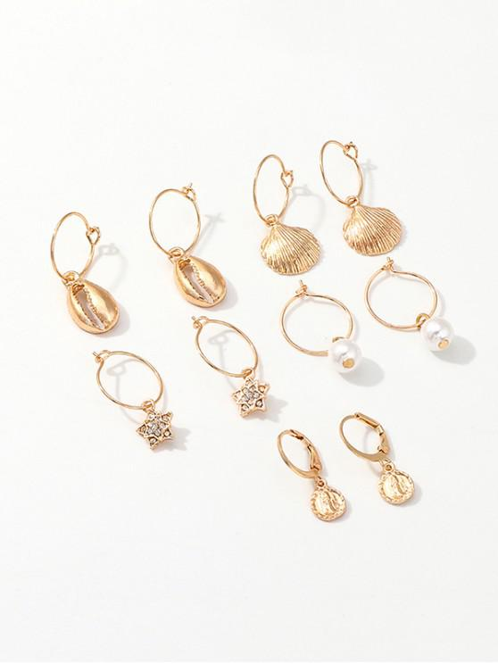 affordable Beach Shell Star Faux Pearl Hoop Earrings Set - GOLD