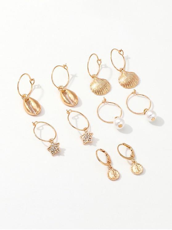 Set di orecchini a cerchio in finta perla con stella di conchiglia - Oro