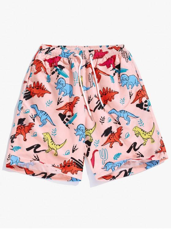 trendy Animal Dinosaur Plant Print Hawaii Beach Shorts - DEEP PEACH XL