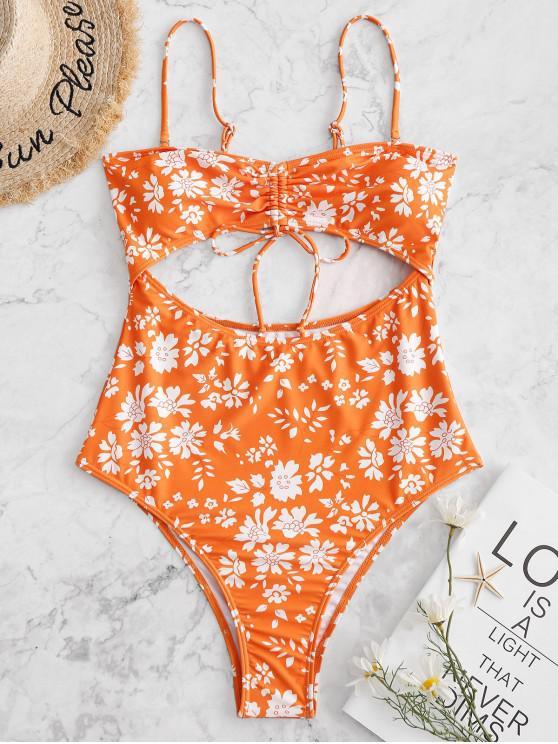 hot ZAFUL Cut Out Floral High Cut One-piece Swimsuit - PUMPKIN ORANGE S
