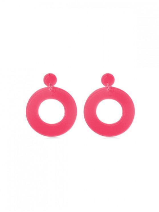 Orecchini a goccia di cerchio di colore al neon - Rosso Roseo