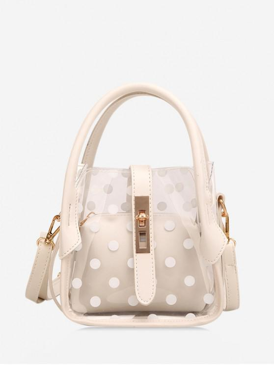 shops Polka Dot Pattern Transparent Shoulder Bag - WHITE