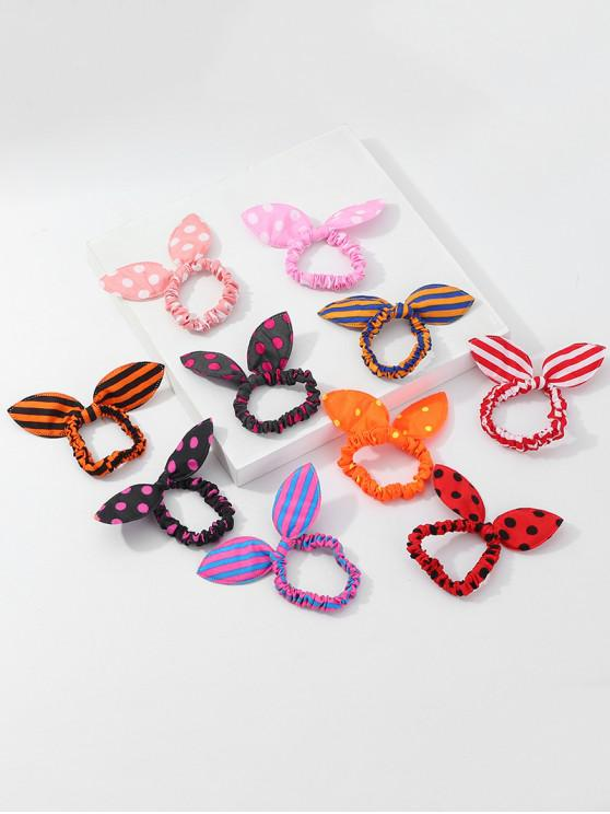 latest Rabbit Ears Striped And Polka Dot Elastic Hair Band Scrunchies Set - MULTI