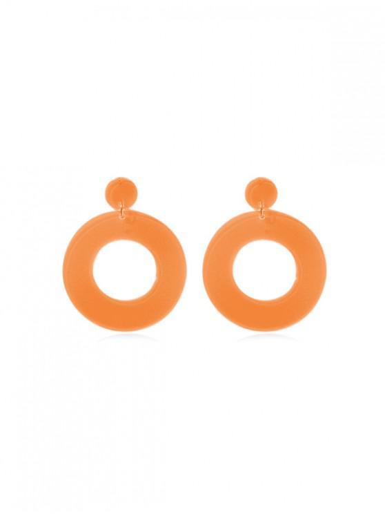 trendy Neon Color Circle Drop Earrings - ORANGE