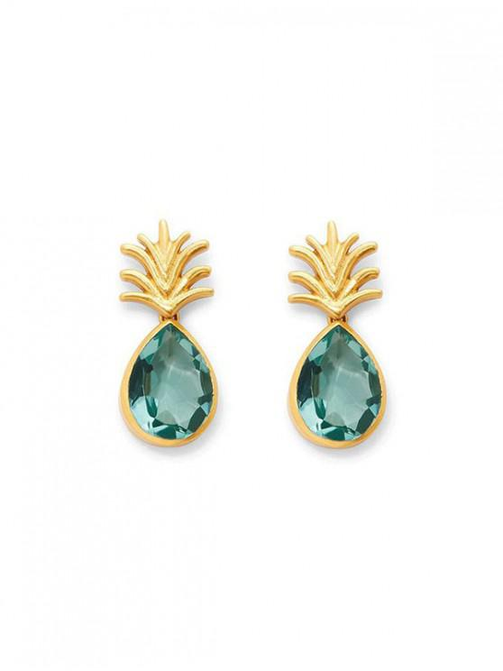 fashion Rhinestone Pineapple Stud Earrings - GREEN