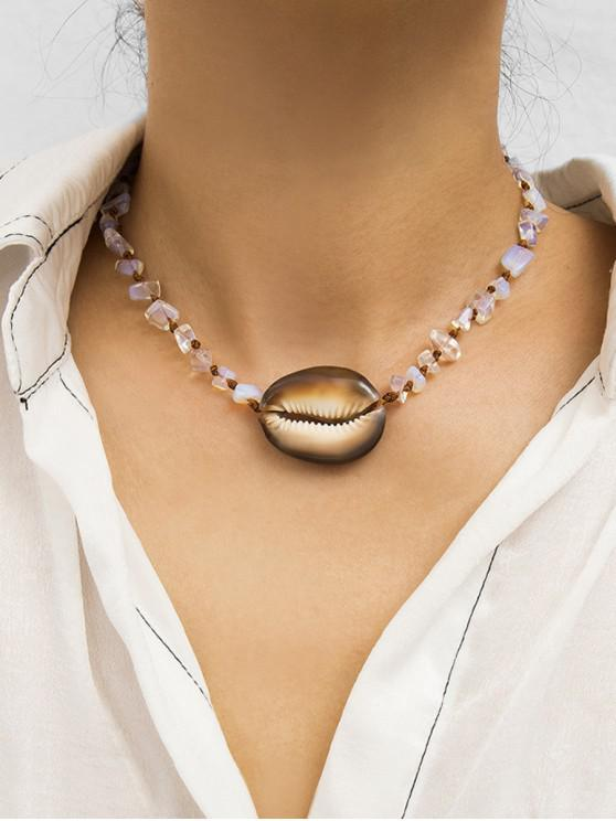 chic Natural Stone Natural Shell Adjustable Rope Necklace - TRANSPARENT