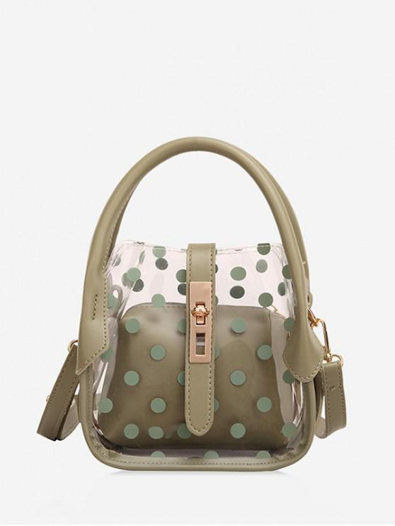 ladies Polka Dot Pattern Transparent Shoulder Bag - DARK SEA GREEN