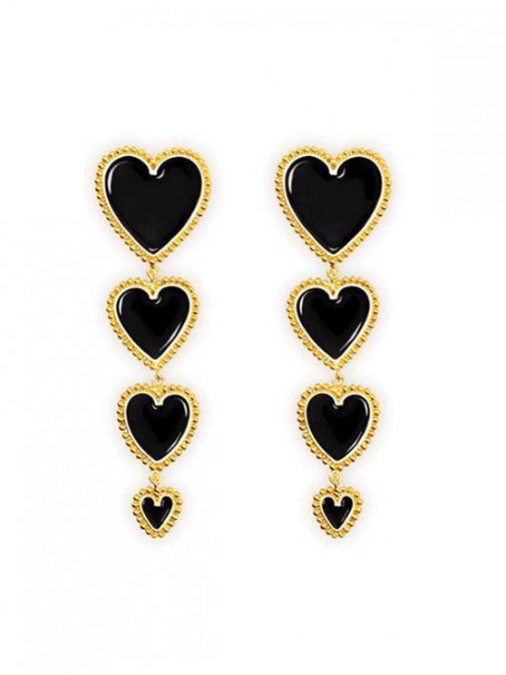 ต่างหูหล่นยาวหัวใจ - สีดำ