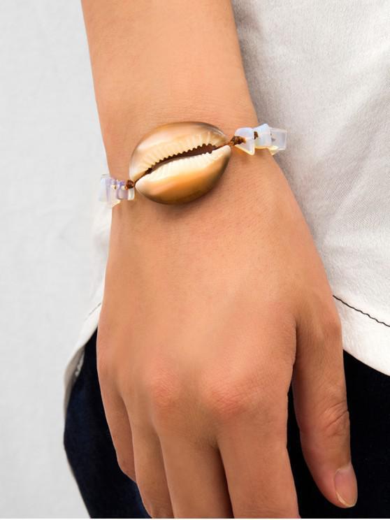 chic Natural Shell Beaded Rope Bracelet - MILK WHITE