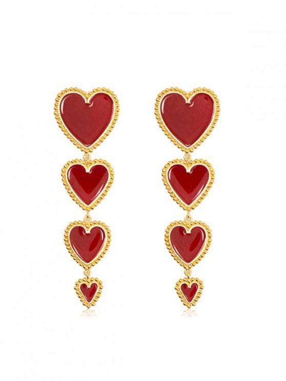 fancy Heart Long Drop Earrings - LAVA RED