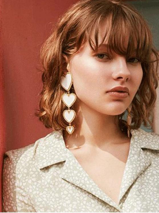 buy Heart Long Drop Earrings - WHITE