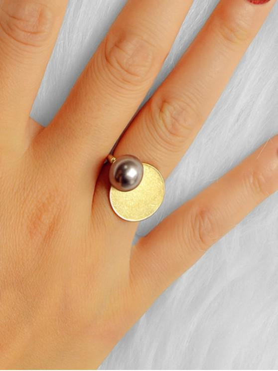 women's Faux Pearl Round Geometric Ring - GOLD