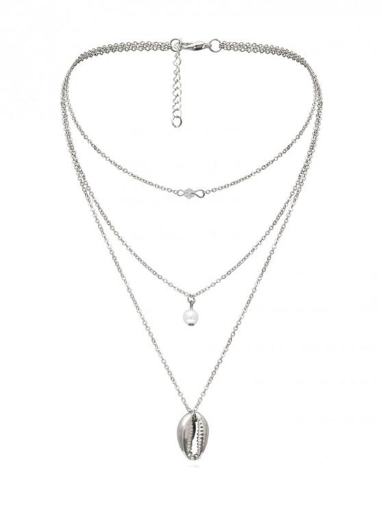 sale Faux Pearl Shell Pendant Multilayered Necklace - SILVER