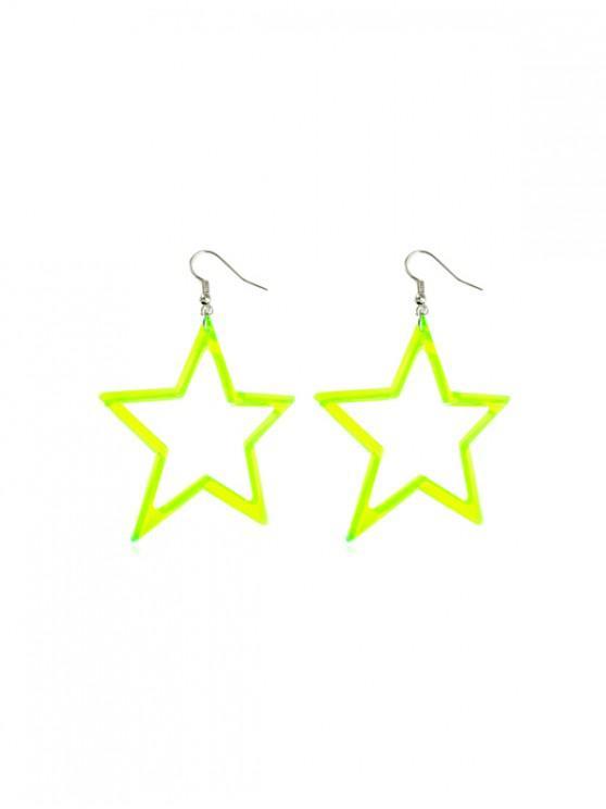 women's Neon Color Star Drop Earrings - GREEN YELLOW