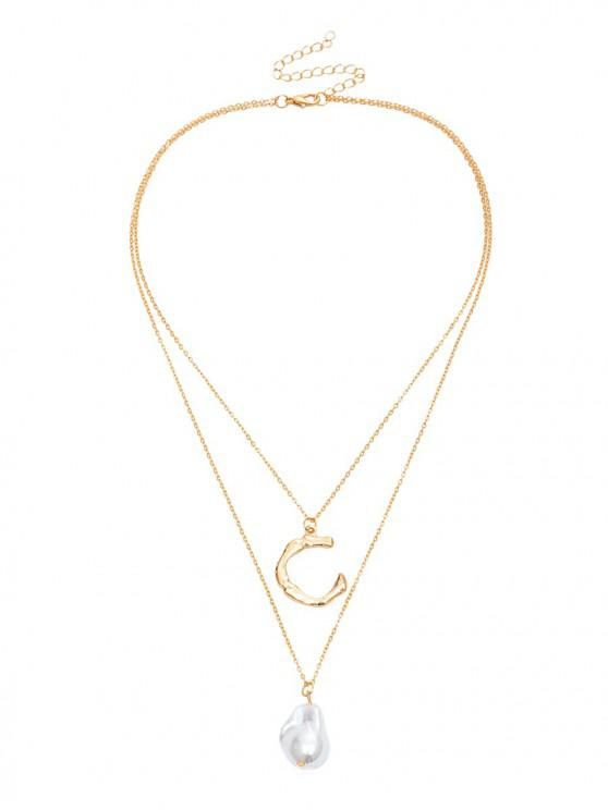 ladies Letter C Faux Pearl Pendant Necklace - GOLD