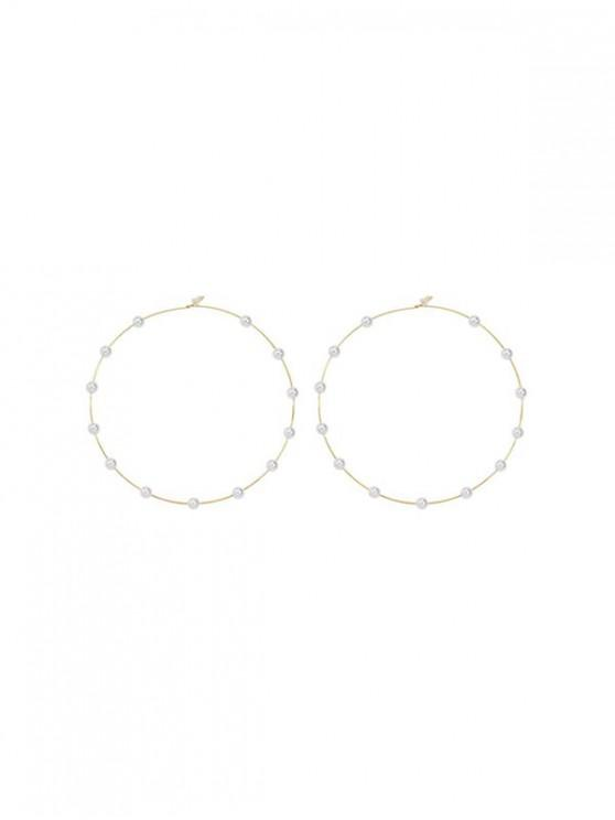 hot Faux Pearl Decor Hoop Earrings - GOLD
