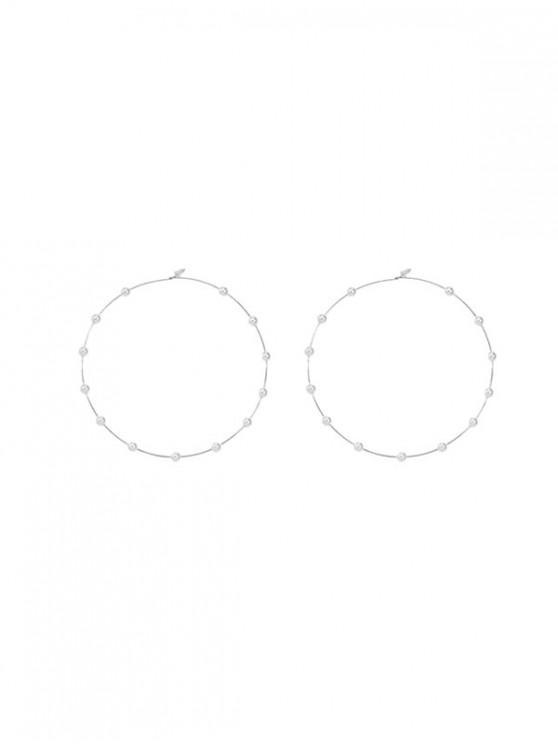 shops Faux Pearl Decor Hoop Earrings - SILVER