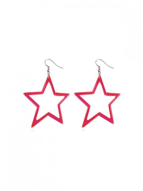fashion Neon Color Star Drop Earrings - ROSE RED